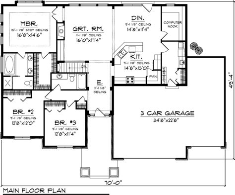 3 bedroom ranch floor plans house plan 73140 at familyhomeplans com