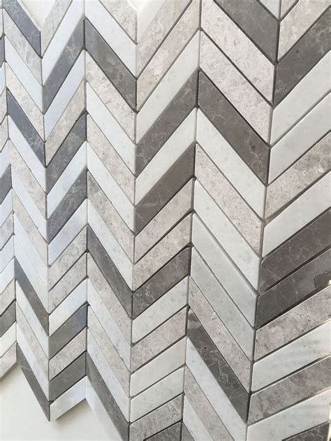 carrara gray mix chevron marble mix mosaic wall  floor