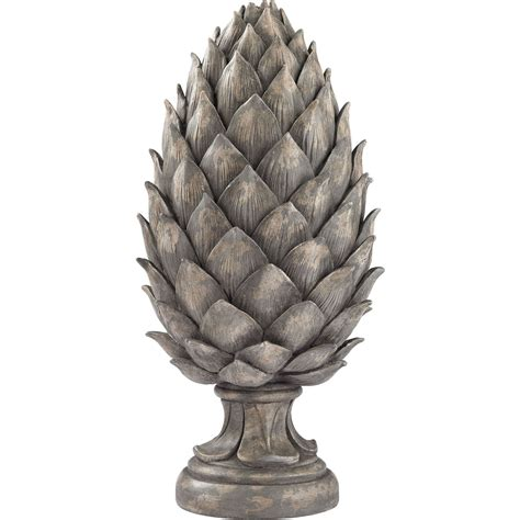 sterling industries   aged grey pine cone sculpture