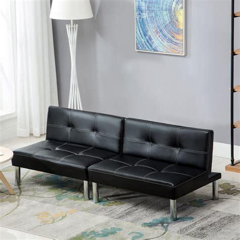 Black Folding Pu Leather Futon Convertible Sofa Sleeper