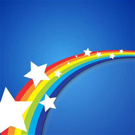 rainbow stars retro background vector