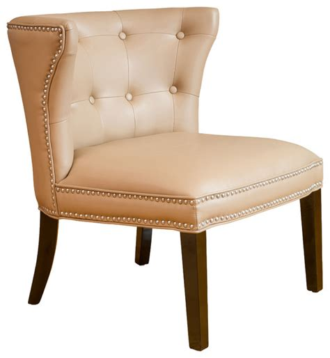 rocio leather accent chair camel traditional