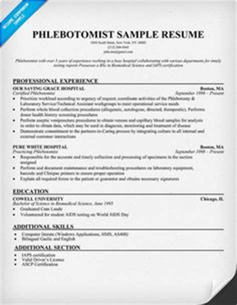 Healthcare Resume Exles Phlebotomist 1000 images about resume help on entry level