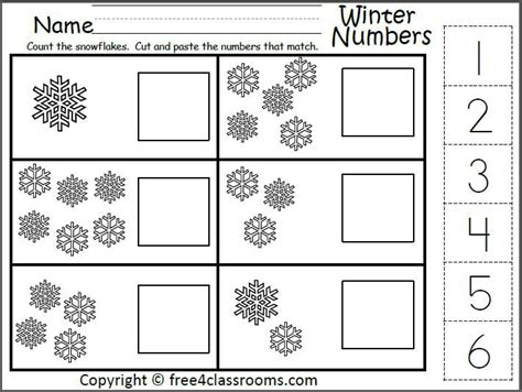Winter Number Matching Worksheet For The Numbers 1 To 6