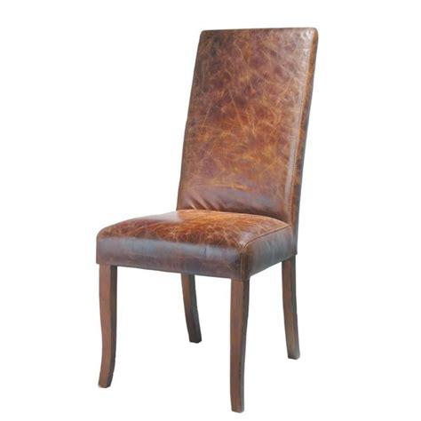 chaise cuir marron chaise en cuir et bois marron vintage maisons du monde