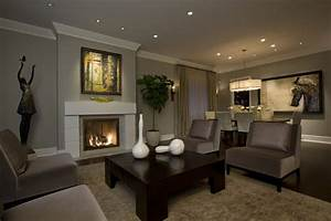 taupe gray living room transitional with open floor plan