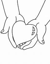 Hands Holding Coloring Heart Pages Drawing Give Shaped Hand Valentine Drawings Printable sketch template