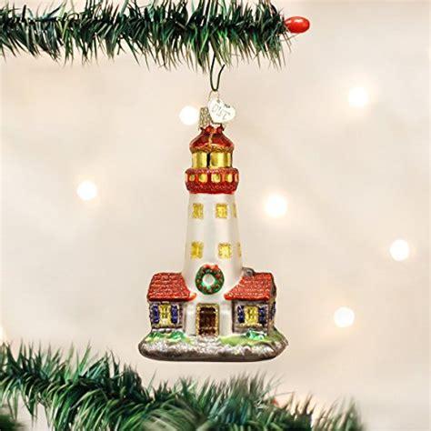 world christmas lighthouse glass blown ornament
