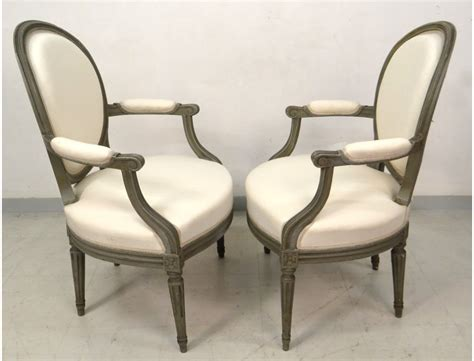 4 Louis Xvi Armchairs Carved Wooden Medallion Painted