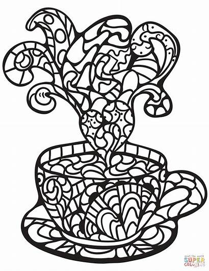 Coloring Zentangle Coffee Cup Pages Desserts Printable