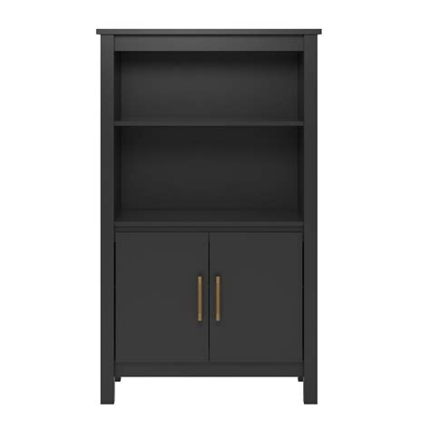Black 3 Shelf Bookcase by Systembuild Meadow Ridge Black 3 Shelf Bookcase With Doors