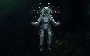 astronaut space suit butterfly space art HD wallpaper