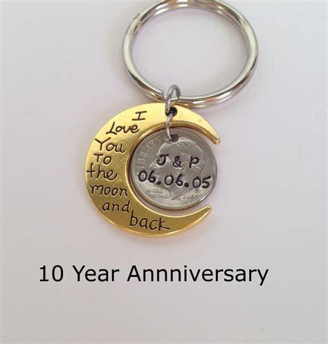 10 year anniversary gift for 10 year anniversary keychain anniversary gift for men