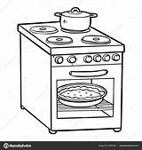 Coloring Stove Electric Children Cartoon Kitchen Savva Ksenya Depositphotos sketch template