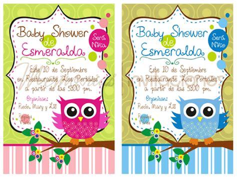 Baby Shower con bebés Búhos invitaciones Pinterest