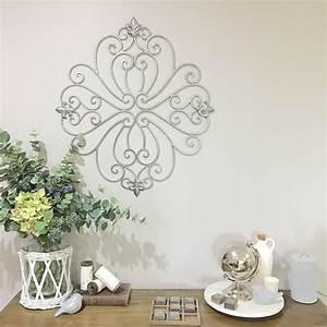 Decorative curled metal wall panel garden art screen