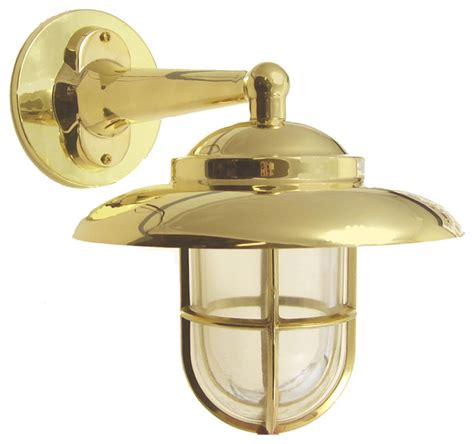 hooded wall light with cage solid brass interior