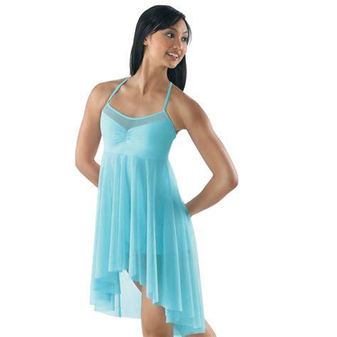 light blue lyrical costume mesh dance dress with attached unitard balera dance