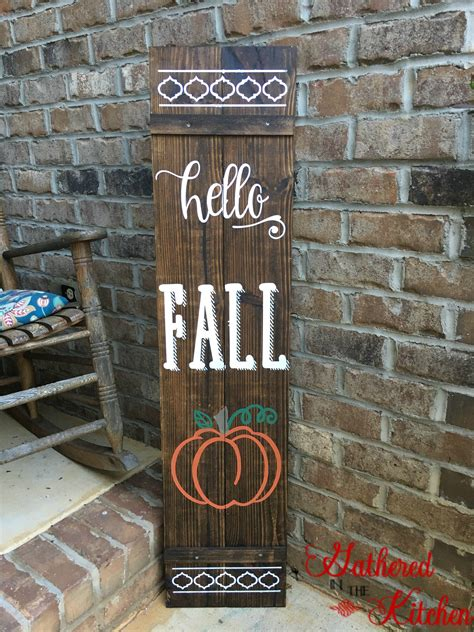 diy wooden fall front porch sign gathered   kitchen