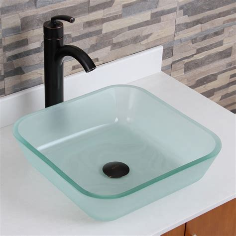 glass sinks for kitchens elite 1502 frosted square tempered glass bathroom vessel 3812