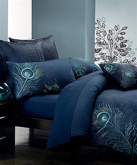 Peacock Colored Bedding by Seasons Collection Navy Blue Peacock Feather Duvet Cover