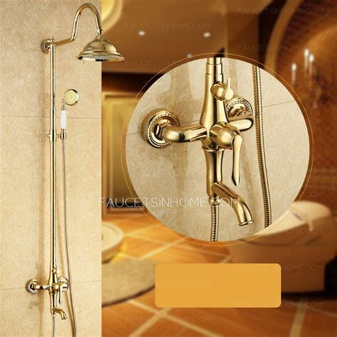 Golden Polished Brass Exposed Wall Mount Shower Faucet System