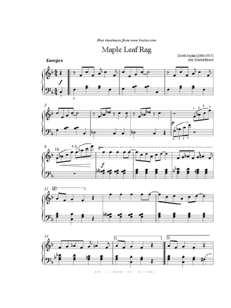 This is the free maple leaf rag sheet music first page. Maple Leaf Rag - Piano Sheet Music