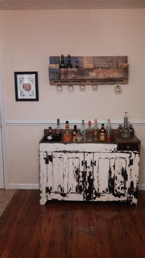 distressed dry sink bar   beer rack   pallets
