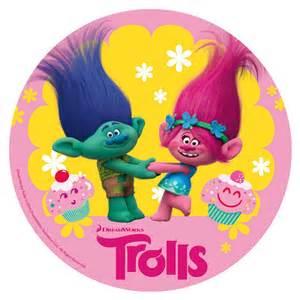 cupcake toppers disco de oblea trolls branch y poppy 20cm my karamelli