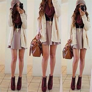 Sweater skater skirt scarf boots beanie cross necklace shoes skirt - Wheretoget