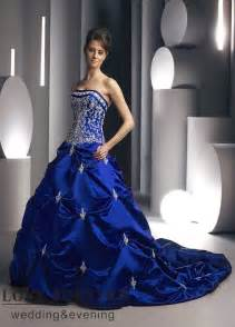 blue dresses for wedding royal blue strapless neckline wedding dress sang maestro