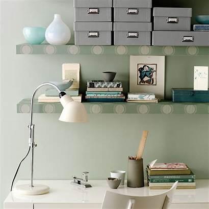 Bookshelves Office Brighten Wallpapered Space Marthastewart Afkomstig
