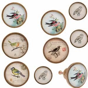 vintage painted birds door knobs antique illustrated pulls furniture handles ebay