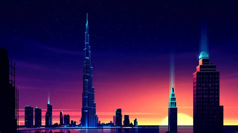 dubai neon cityscape wallpapers hd wallpapers id