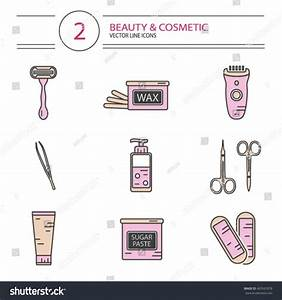 Vector Modern Line Style Cosmetics Icons Stock Vector