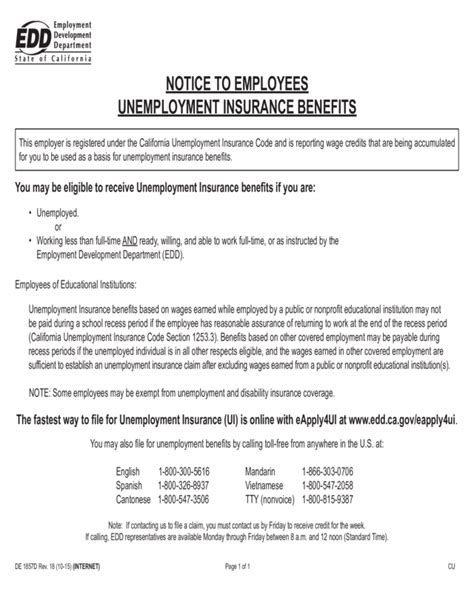 In california, state ui tax is just one of several taxes that employers must pay. Notice To Employees Unemployment Insurance Benefits (De 1857D) - Edit, Fill, Sign Online | Handypdf