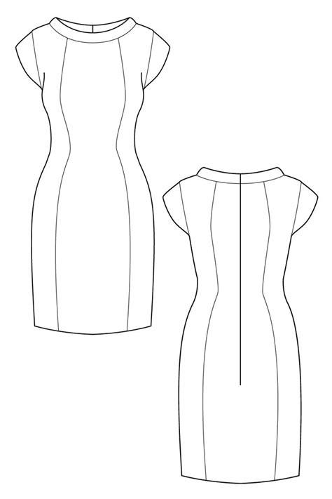 cap sleeve shift dress flat drawing  ralph pink