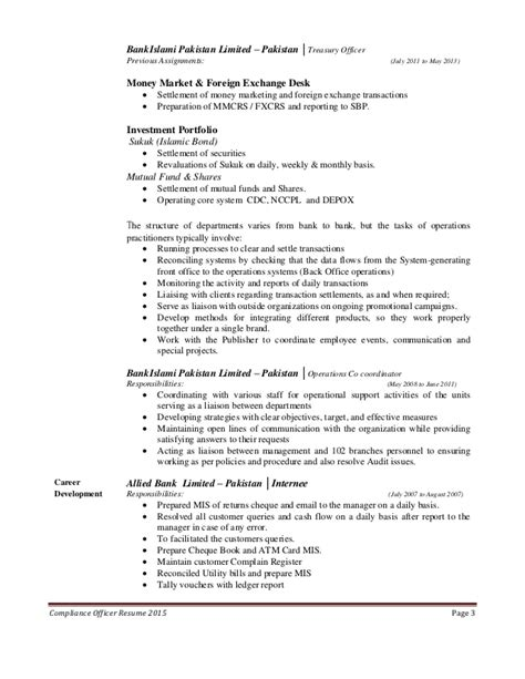 Chief Compliance Officer Resume Exle by Aml Officer Resume Sales Officer Lewesmr