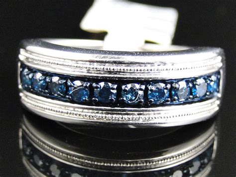 mens white gold finish blue diamond pave  mm wedding