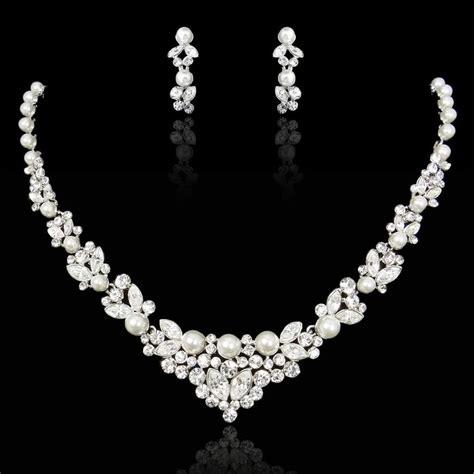 bridal wedding swarovski crystal pearl necklace set ivory