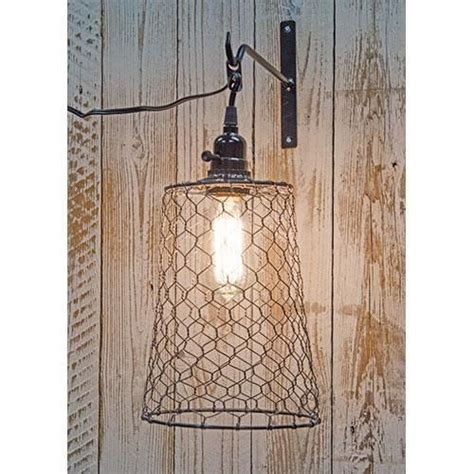 new primitive country rustic farm chicken wire pendant