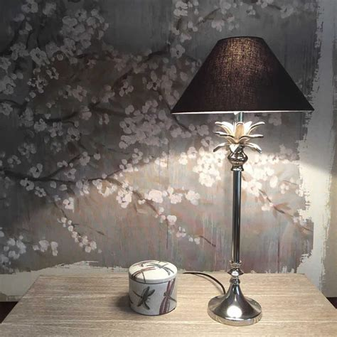 palm tree leaf table lamp nickel cowshed interiors
