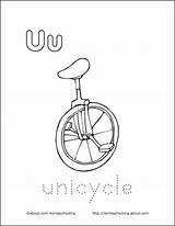 Unicycle Coloring Letter Pages Printable Preschool Books Letters Homeschooling Early Ve Sheets Education sketch template