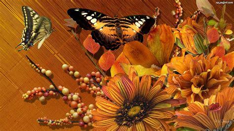 Motyle, Jesienne, Kwiaty Na Pulpit