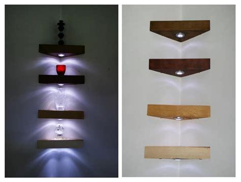 Kitchen Recessed Lighting Ideas - wood corner shelf wall mount