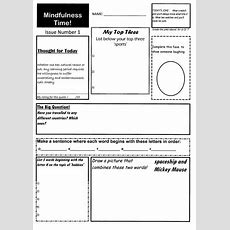 Form Time Fun Quiz  Mindfulness Activity  10 Original Worksheets Age 8  88 By Creative