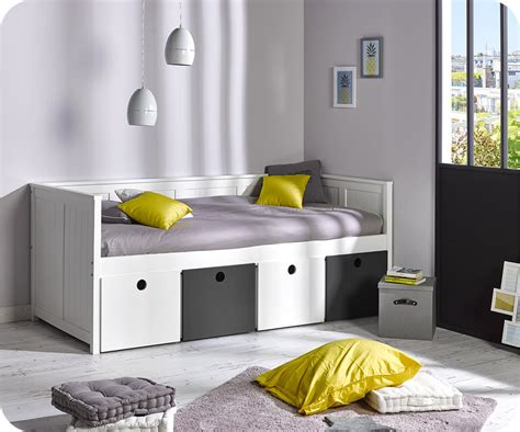 chambre gris lit banquette swam blanc avec rangements blanc et gris