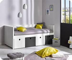 lit banquette swam blanc avec rangements blanc et gris With tapis yoga avec canape lit pour enfant