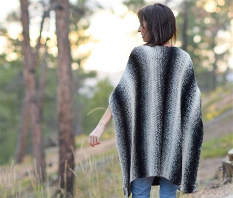 aspen relaxed knit poncho pattern in a stitch
