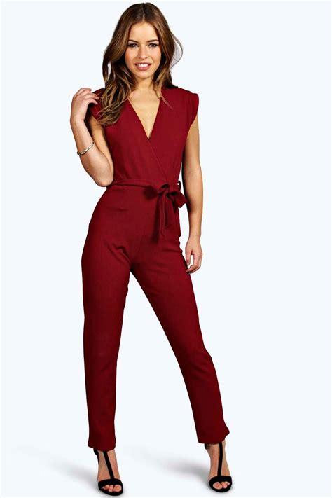 womens jumpsuits boohoo womens millie wrap jumpsuit ebay